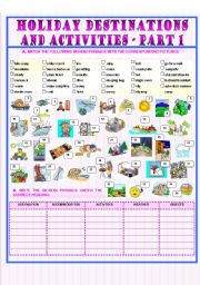 English Worksheet: Holiday Destinations and Activities - part 1