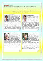English Worksheets: Women MPs