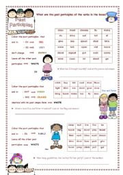 English Worksheet: Past Participles Colouring