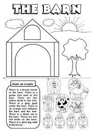 English Worksheets: The barn (there is / are)
