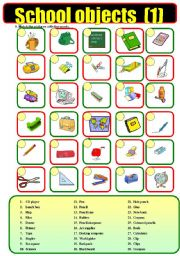 English Worksheet: School  objects (1)