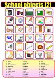 English Worksheet: School objects (2)