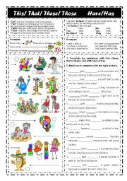 English Worksheets: Demonstratives this that these & those. Verb to have (editable)