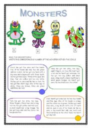 English Worksheet: Monsters/ havve got /parts of the body