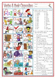 English Worksheet: Verbs and their Opposites 1 (with senteces)