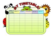 English Worksheet: MY TIMETABLE! - EDITABLE TIMETABLE WITH B&W VERSION  (NOW INCLUDES SOME EXERCISES)