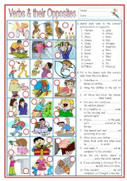 English Worksheet: Verbs and their Opposites 2 (with sentences)