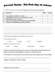 English worksheet: Forrest Gump activity