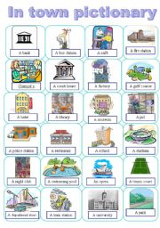English Worksheet: Places in a town pictionary