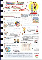 English Worksheet: Teenagers´ Future Quiz -