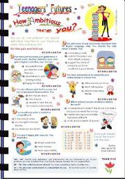 English Worksheet: Teenagers� Future Quiz -