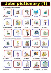 English Worksheets: Jobs Pictionary  (1)