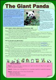 English Worksheet: The Giant Panda - Reading/speaking activity