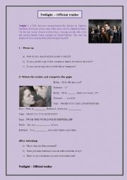 English Worksheet: Twilight Trailer