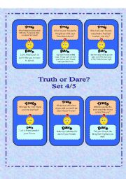 English Worksheet: Truth or Dare?  -  Set 4/5