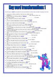English Worksheets: Key word Transformations 1