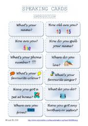 English Worksheets: SPEAKING CARDS - introduction