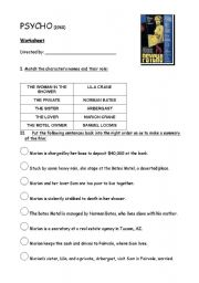English Worksheets: PSYCHO by Alfred HITCHCOCK: Worksheet