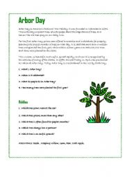English Worksheet: Arbor Day / Tree Day / Earth Day