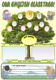 English Worksheet: OUR ENGLISH CLASS TREE! - YOUR CLASS  TREE!!! WITH Y YOUR STUDENTS PHOTOS, AUTOGRAPHS, NAMES AND   YOUR OWN CLASS MOTTO! TEAM-BUILDING ACTIVITY (EDITABLE!!!)