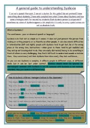 English Worksheet: guide to understanding dyslexia (8 pages)