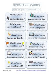 English Worksheets: SPEAKING CARDS - What is your favourite...? (set 1)