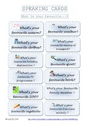 English Worksheets: SPEAKING CARDS - What is your favourite...? (set 2)