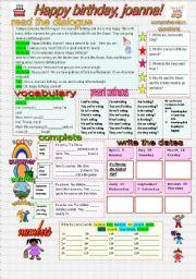 English Worksheet: HAPPY BIRTHDAY JOANNA