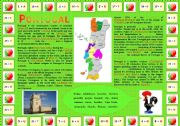 Portugal é um país muito bonito (Portugal is a very beautiful country): Encrypted & Complete-the-gaps activities + Comprehension questions (2 pages)
