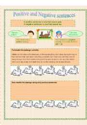 English Worksheets: Positive and negative sentences