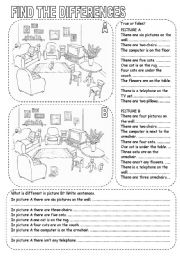 English Worksheet: FIND THE DIFFERENCES (2)