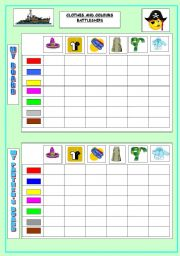 English Worksheets: Clothes and Colours Battleship Game