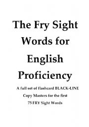 English Worksheets: The Fry Sight Words Flash Card Set 10 pages