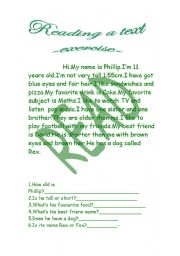 English Worksheets: A text