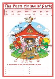 English Worksheet: THE FARM ANIMALS� PARTY   2 pages