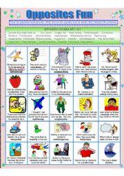 English Worksheet: OPPOSITES FUN