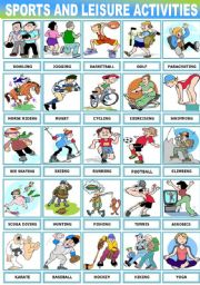 English Worksheet: SPORTS AND LEISURE ACTIVITIES -PICTIONARY