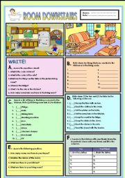 English Worksheet: Room downstairs