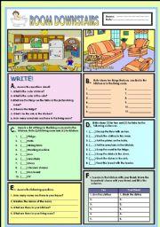 English Worksheet: Room downstairs