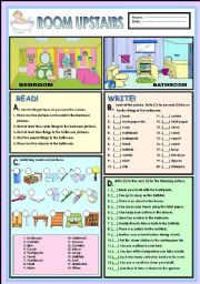 English Worksheet: Room upstairs