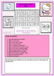 English Worksheet: Hello Kitty�s Photo Album (2 of 2)  Exercises