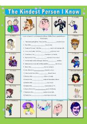 English Worksheet: The Kindest Person I Know:    Superlatives