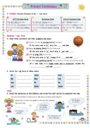English Worksheet: Present Continuous  -  an Inductive approach: Use and Form + practice for Upper elementary and Lower Intermediate students.