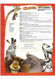 English Worksheet: MADAGASCAR MOVIE SEGMENT1- SCRIPT ACTIVITY