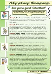 English Worksheet: MYSTERY TEASERS PART 3! -  reading activity -amazing detective brain teasers for you and your students (with keys)