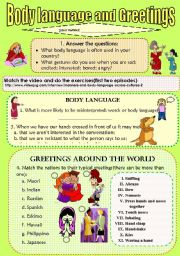 English Worksheets: BODY LANGUAGE   AND   GREETINGS