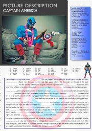 English Worksheets: Captain America: Picture Description 5. (Present+Past Participles)