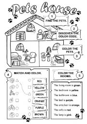 English Worksheet: Pets house
