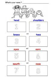 head shoulders knees toes cut paste esl worksheet mrsneeze
