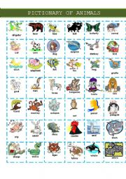 English Worksheets: PICTIONARY OF ANIMALS